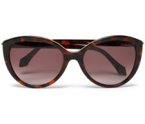 Cat-eye pebbled-leather and acetate sunglasses