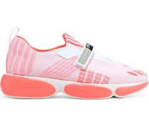 Leather-trimmed Stretch-knit Sneakers Coral
