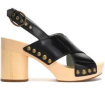 Studded glossed-leather platform sandals