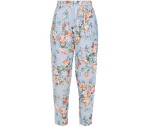 Floral-print Linen-gauze Tapered Pants