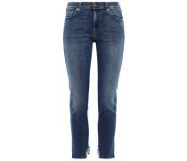 Piper Frayed Mid-rise Slim-leg Jeans Mid Denim  3
