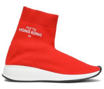 Stretch-knit High-top Sneakers Red