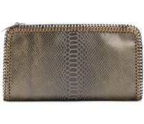 Chain-embellished Faux Suede Snake-print Clutch Light Brown Size --