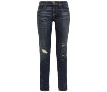 Bryce Distressed Mid-rise Slim-leg Jeans Dark Denim  4