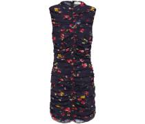 Ruched Floral-print Silk-georgette Mini Dress