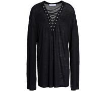 Lace-up slub linen shirt