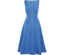 Flocked silk-faille midi dress