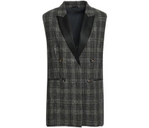 Satin-trimmed Embellished Checked Linen Vest Army Green