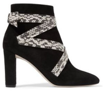 Heat suede and elaphe ankle boots