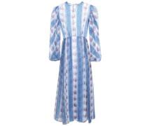 Printed Silk-organza Midi Dress Light Blue Size 12