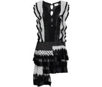 Pleated Polka-dot Silk Organza, Satin And Lace Mini Dress Black Size 1