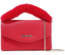 Faux Fur-trimmed Embellished Faux Leather Clutch Red Size --