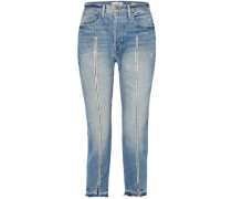 Cropped Distressed Mid-rise Straight-leg Jeans Mid Denim  3