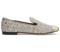 Glittered embroidered flats