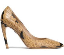 Embossed Leather Pumps Sand