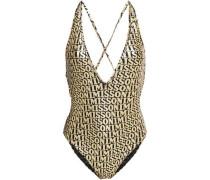Woman Mare Metallic Printed Swimsuit Gold