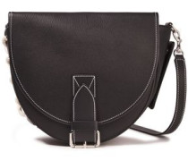 Bike Lace-up Textured-leather Shoulder Bag Black Size --