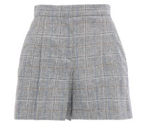 Woman Liam Pleated Prince Of Wales Checked Jacquard Shorts Gray