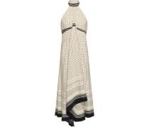 Draped Polka-dot Crepe De Chine Halterneck Midi Dress Ivory