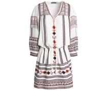 Tasseled embroidered cotton-gauze dress