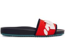 Bow-embellished Stretch-knit Slides Red