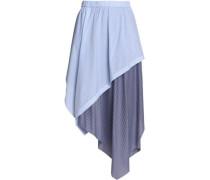 Asymmetric striped cotton-blend midi skirt