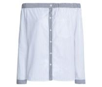Off-the-shoulder striped cotton-blend poplin top