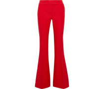 Sofia Grosgrain-trimmed Woven Flared Pants Red