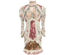 Woman Pleated Appliquéd Floral-print Silk Mini Dress Cream