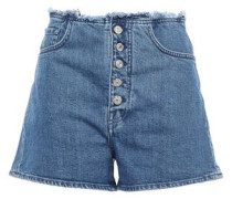 Frayed Denim Shorts Mid Denim  4