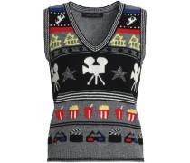 Metallic intarsia-knit sweater