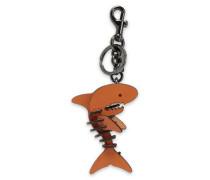 Gunmetal-tone Leather Key Chain Tan Size --