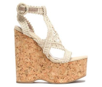 Leather-trimmed braided raffia wedge sandals
