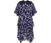 Tiered printed silk-georgette dress