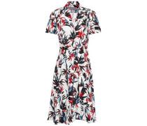Woman Pleated Floral-print Cotton-poplin Shirt Dress Ivory