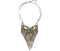 Gold-tone, Crystal And Stone Necklace Gold Size --