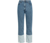 Cropped Two-tone High-rise Straight-leg Jeans Mid Denim  3