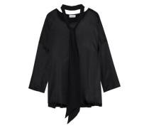 Tie-neck Satin Blouse Black