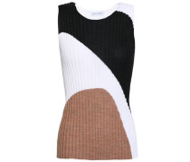 Color-block Ribbed Silk-blend Top Anthracite