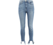 Frayed Faded High-rise Skinny Jeans Light Denim  5