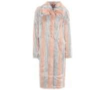 Woman Striped Faux Fur Coat Blush