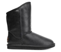 Shearling-lined Leather Snow Boots Black