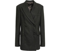 Double-breasted Herringbone Wool-blend Blazer Army Green