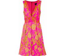 Pleated brocade mini dress