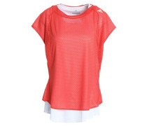 Layered Mesh T-shirt Coral