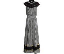 Pleated crepe-trimmed printed silk-chiffon maxi dress