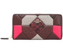 Patchwork smooth and snake-effect leather continental wallet