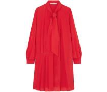 Tie-neck Pleated Silk-blend Crepe De Chine Mini Dress Red