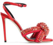 Knotted Crystal-embellished Satin Sandals Red