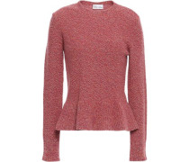 Fluted Wool-blend Sweater Pink